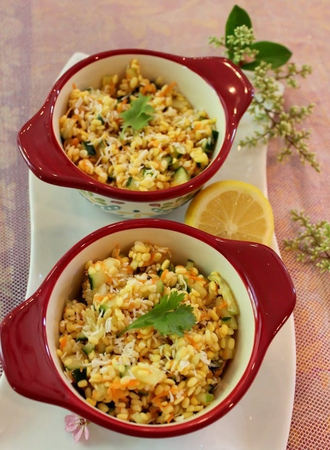 moong dal kosambari served in two bowls