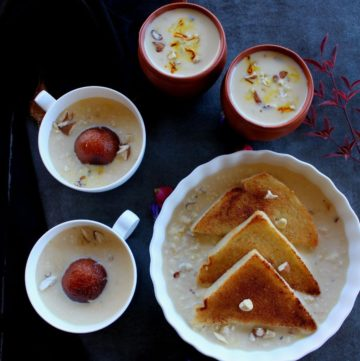 rabdi served with gulab jamun and shahi tukda