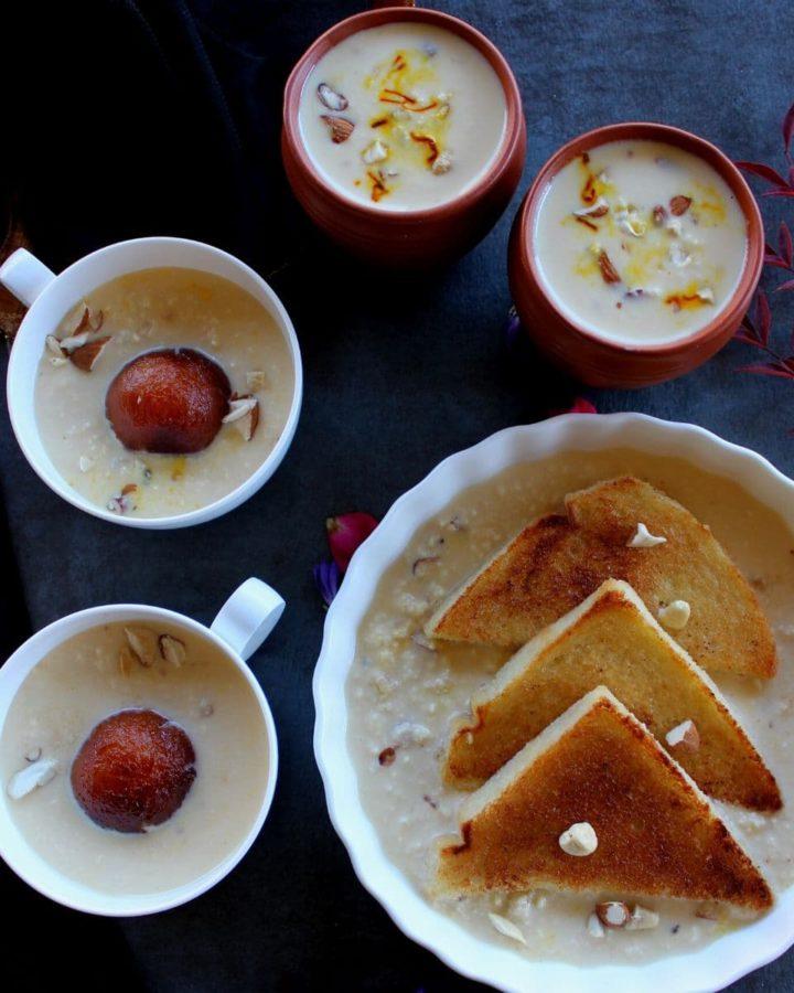 rabdi served with gulab jamun and shahi tukda