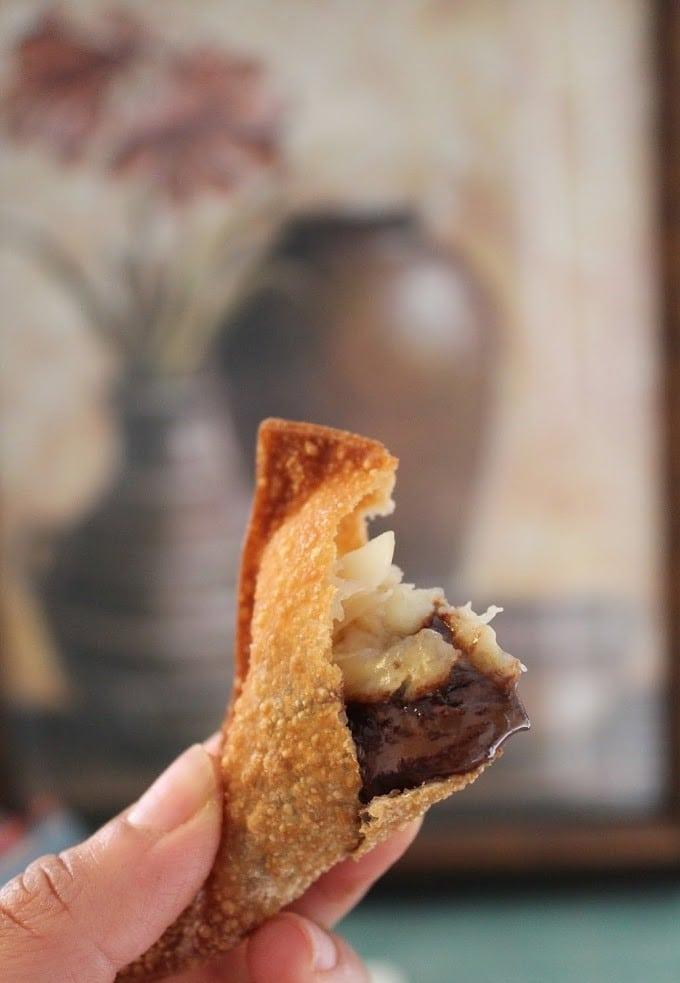 chocolate hazelnut ravioli with banana