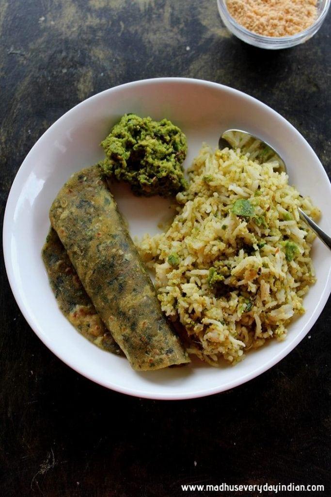 beerakaya thokku pachadi served with rice and chapathi