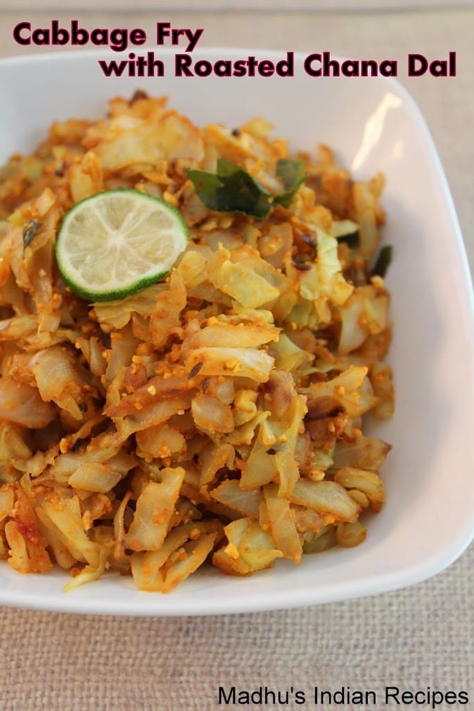 cabbage fry with roasted chana dal