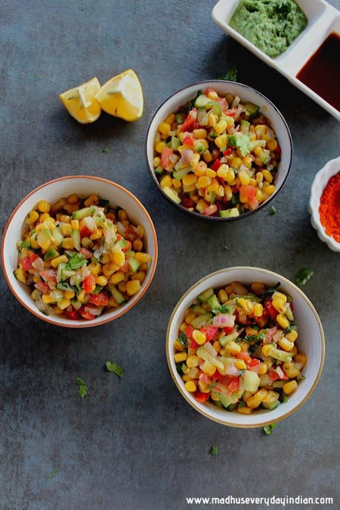 corn chaat served in bowls