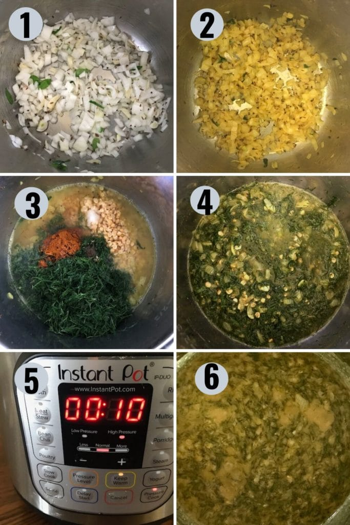 procedure on how to make dill dal in the instant pot