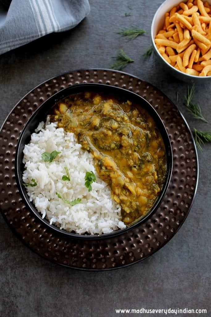 dill dal served with rice and yogurt