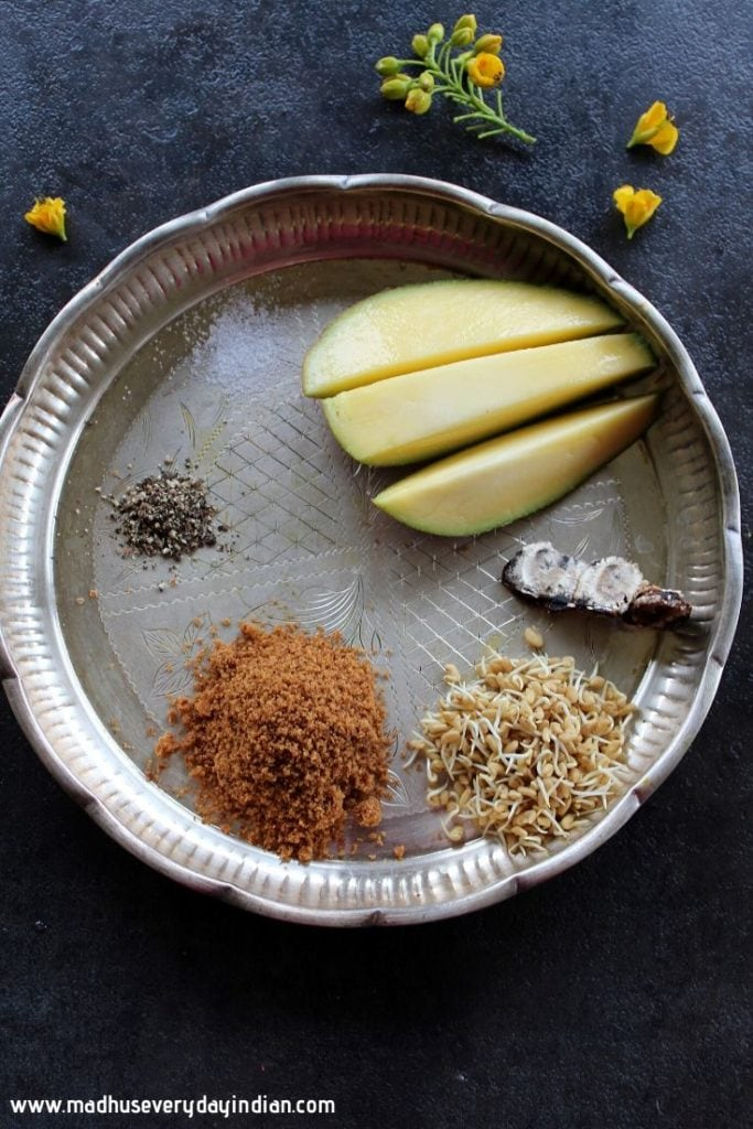 ingredients needed to make ugadi pachadi - jaggery,nee,tamarind,salt, pepper