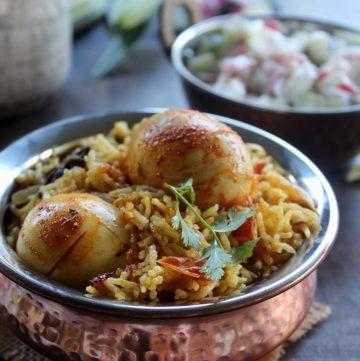Instant Pot Egg biryani served in a kadai