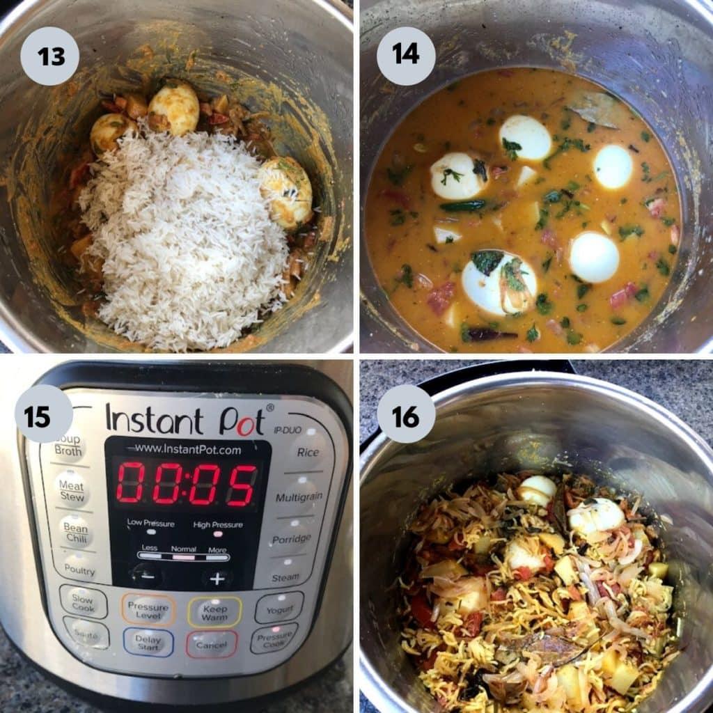cooking egg biryani in the instant pot