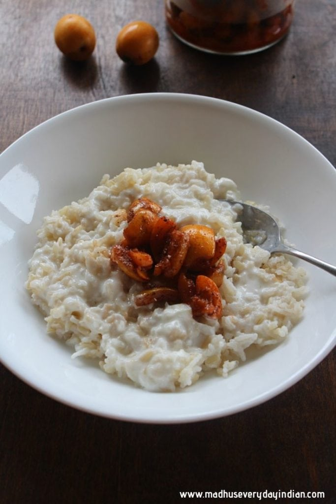 loquat pickle with curd rice