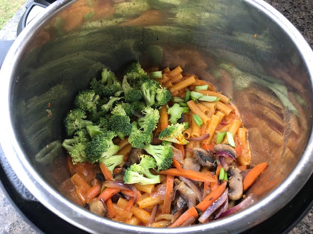 add sauteed veggies to the cooked pasta
