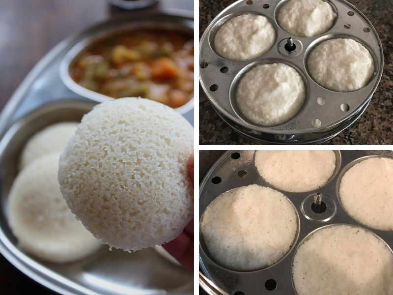 soft idli steamed and plated