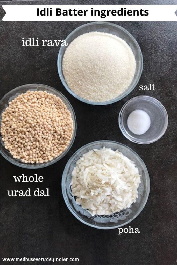 idli rava, whole urad dal, salt and thick poha in glass conatiners