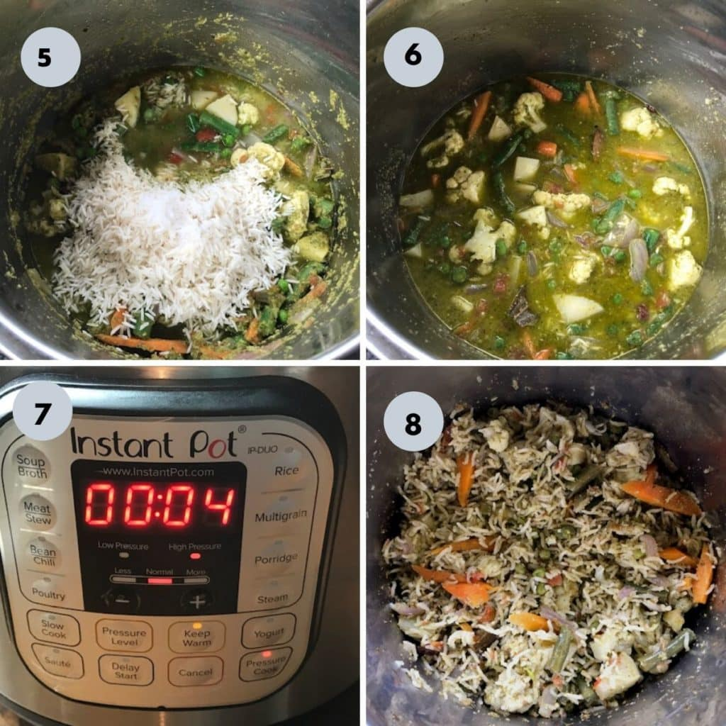 added the rice and cooked the veg pulao for 4 mins in instant pot