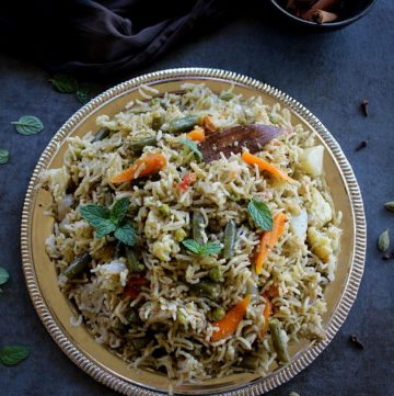 vegetable pulao served in a silver plate