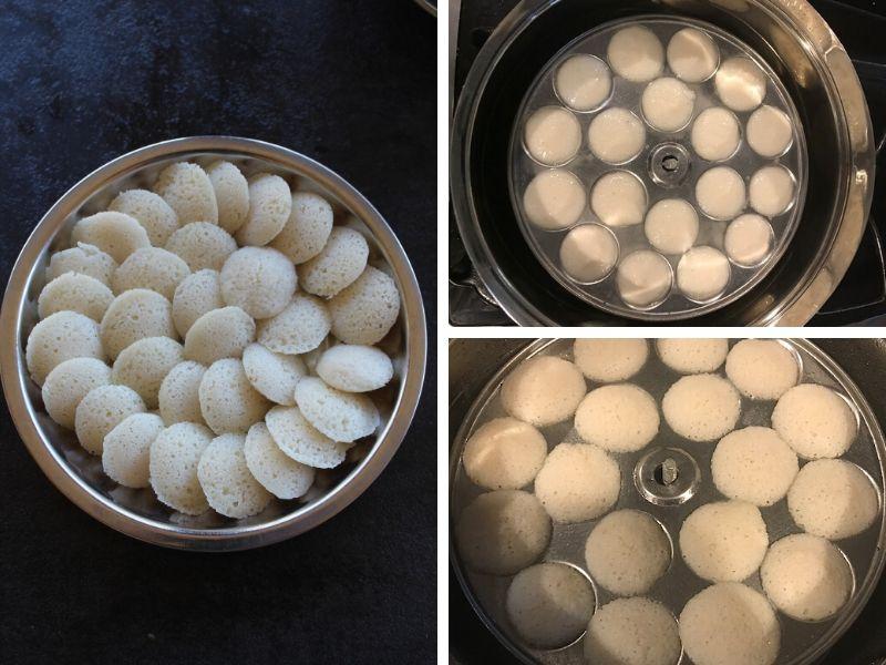 mini idli ready to be steamed and steamed mini idli served in a plate