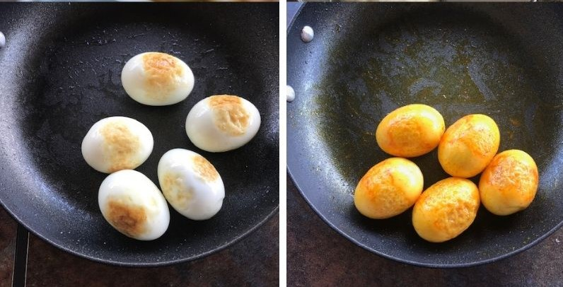 pan fried eggs in a non stick pan