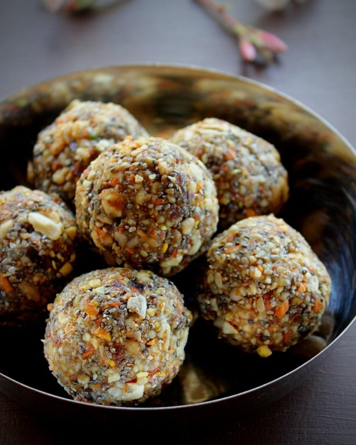 dry fruit laddu served in a steel plate