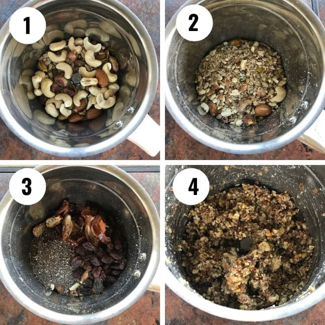 nuts are crushed in ablender and dates, chia and raisins are added and blended again