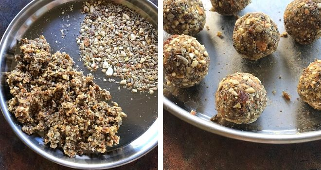 powdered nuts, seeds and dates mixture formed in to a ball and served in a steel plate
