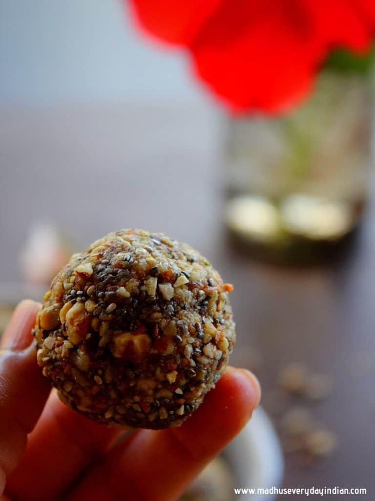 dry fruit laddu held in your palm