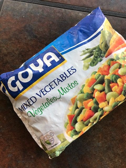 a pack of frozen mixed veggies