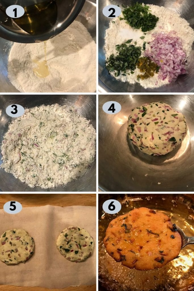 step by step pics on how to make maddur vada - mixing flours, spices and onion and frying them