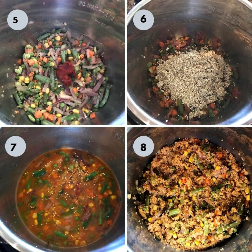 veggies and quinoa, water added to the instant pot and cooked