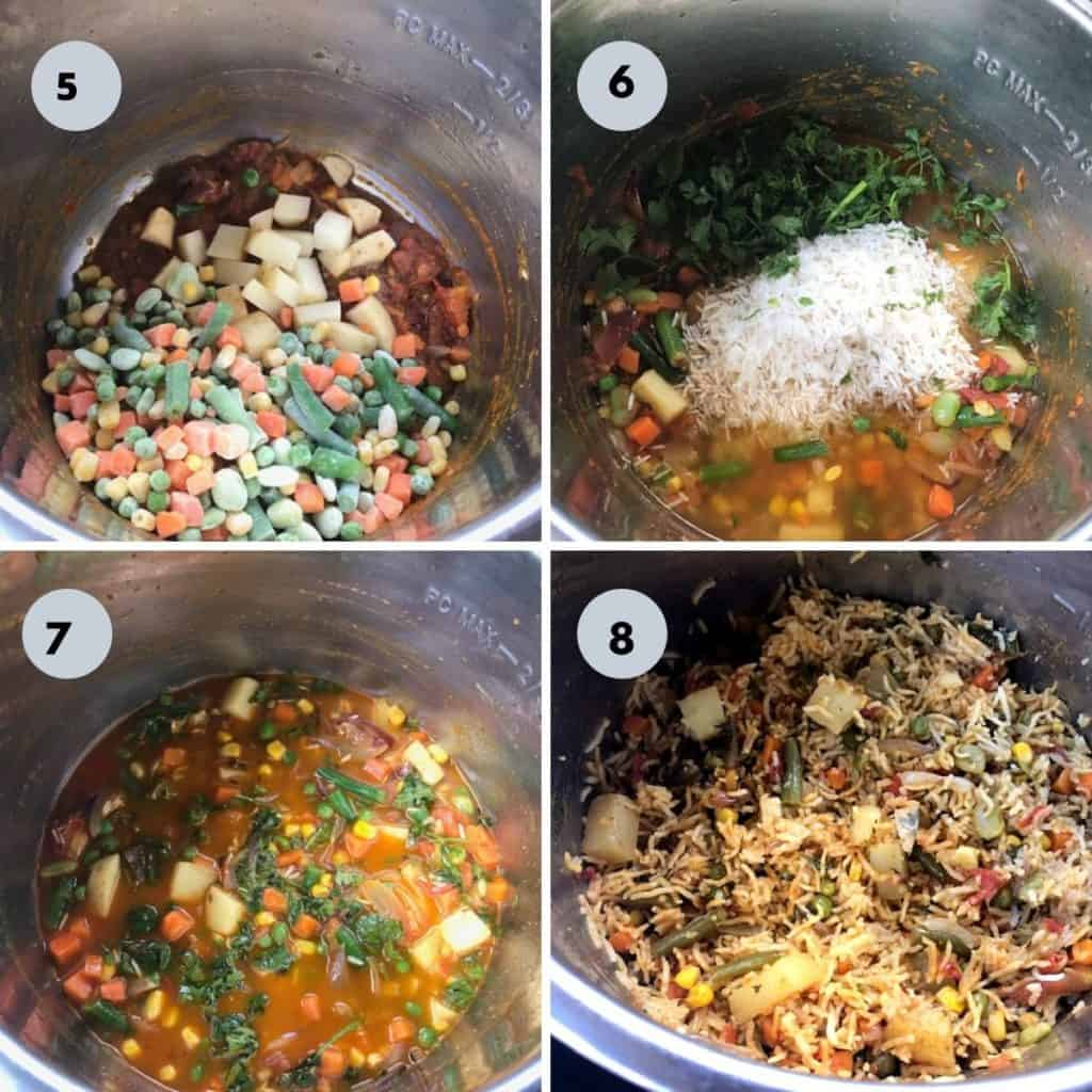 adding veggies and rice to the instant pot