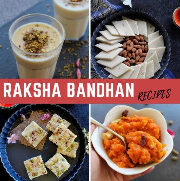 collection of raksha bandhan desserts in a collage