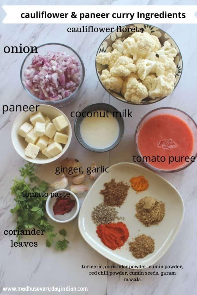cauliflower paneer curry ingredients