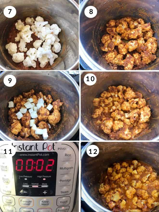cauliflower and paneer added to the masala mixture and cooked for 2 minutes in the instant pot