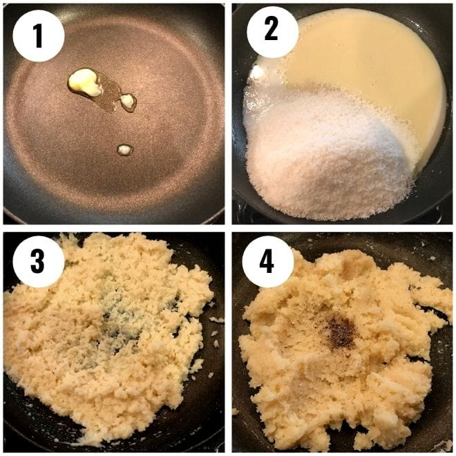 ghee, milk, coconut and condesned milk cooked in a pan
