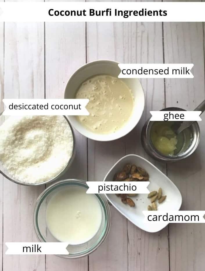 ingredients needed to make coconut burfi