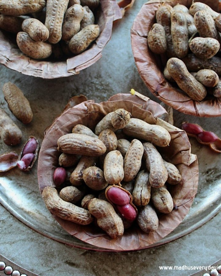 boiled peanuts served in a dry leaf bowl