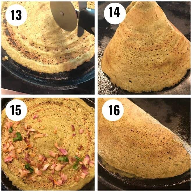 cone shaped dosa and dosa folded with onion