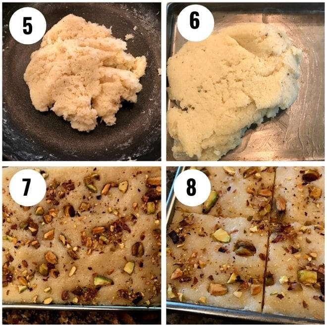 coconut burfi is cooked and garnished with pistachio