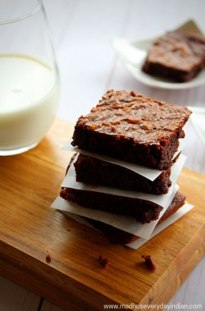 staced nutella brownies served with cold milk