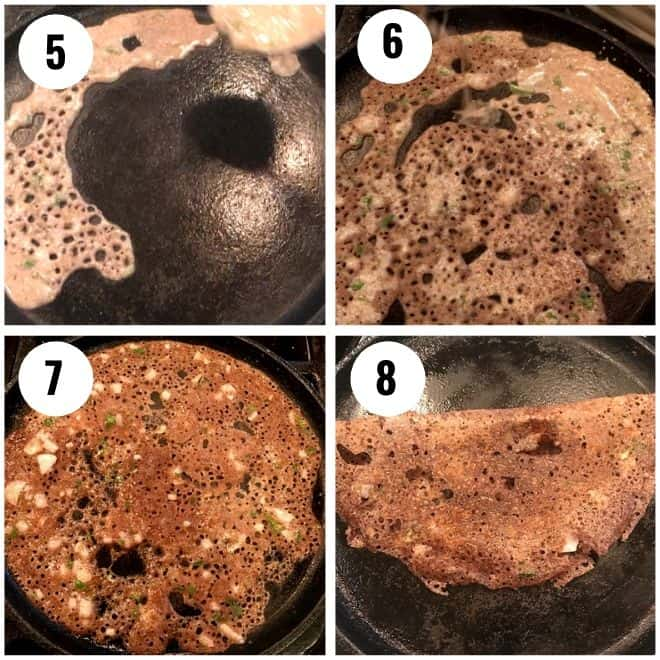 making ragi dosa in a cast irons killet