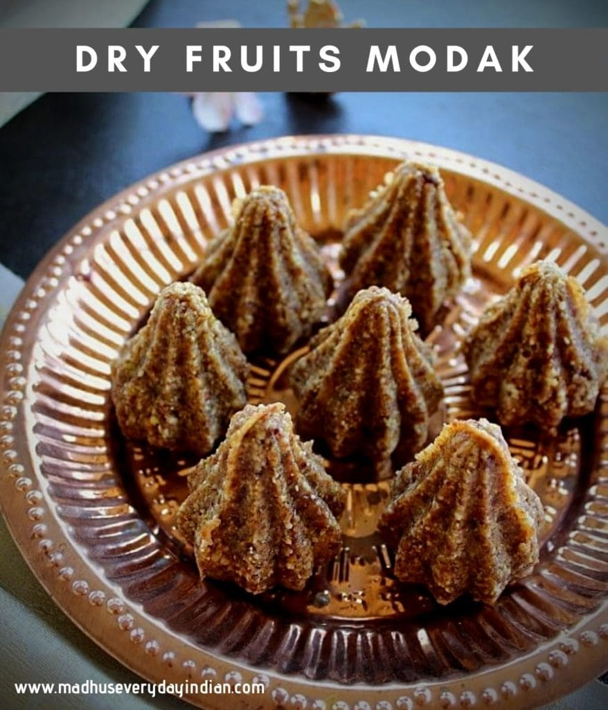 dry fruits modak served in a copper plate