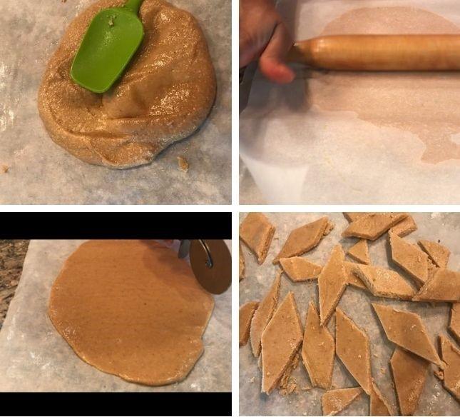 cooked peanut burfi cut to diamond shape