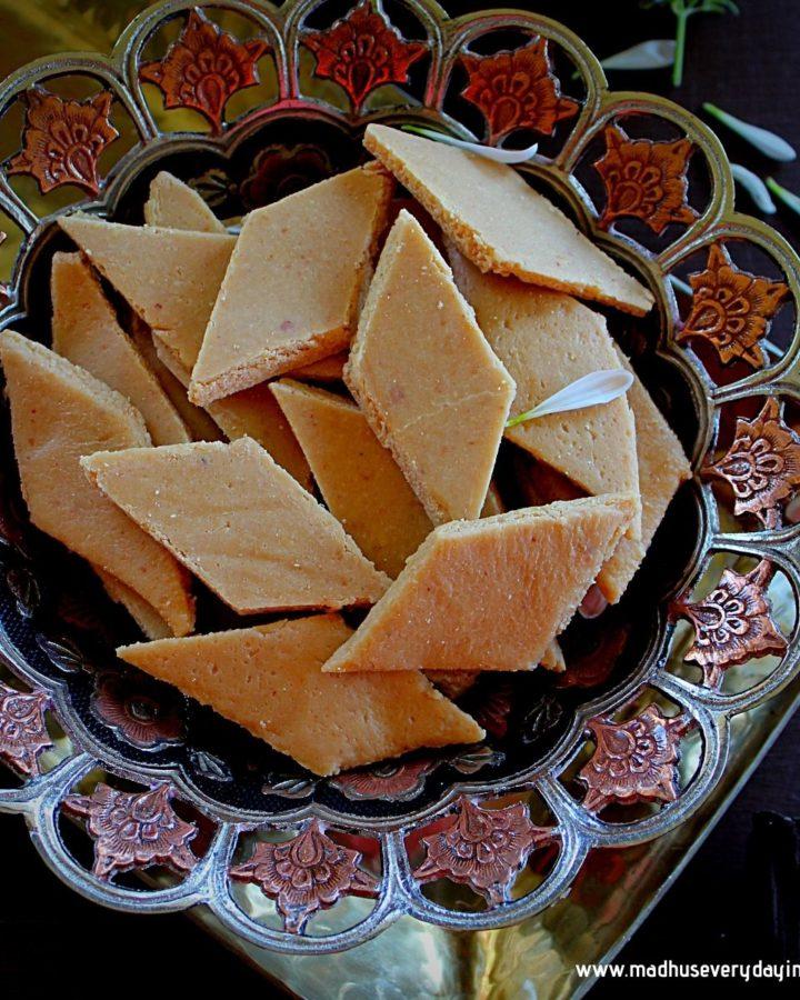 peanut katli or peanut burfi served in a large bowl