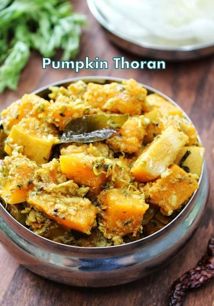 kerala style pumpkin stir fry served in a steel bowl