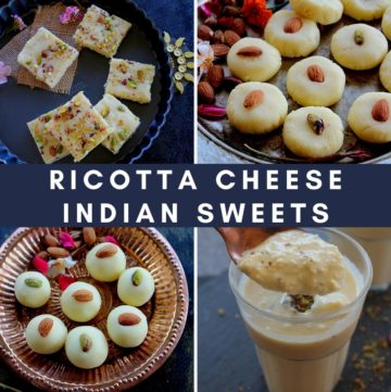 collection of 4 indian desserts made with ricotta cheese