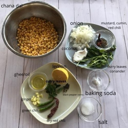 ingredients needed to make steamed chana dal vada