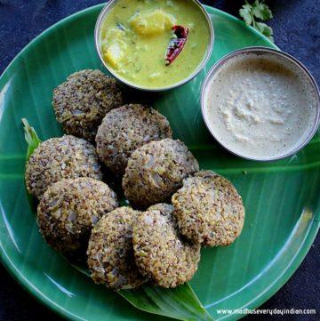 steamed green moong dal masala vada served with peanut chutney and yogurt gravy