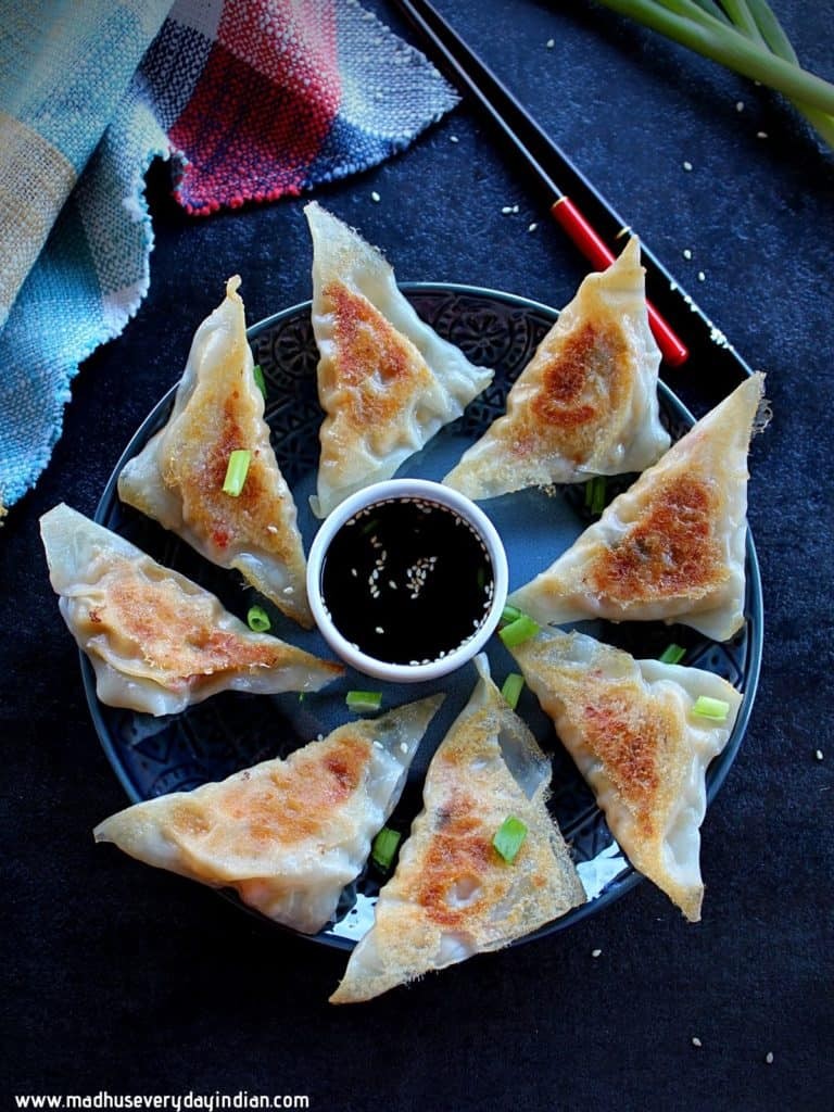 vegetable potstickers swerved in a plate with dipping sauce