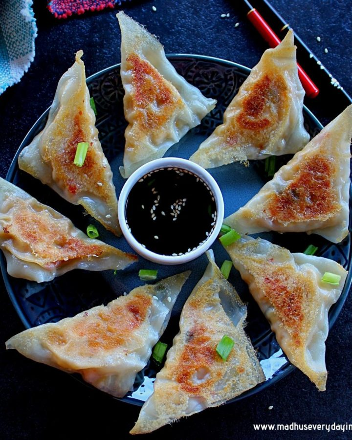 vegan potstickers swerved in a plate with dipping sauce