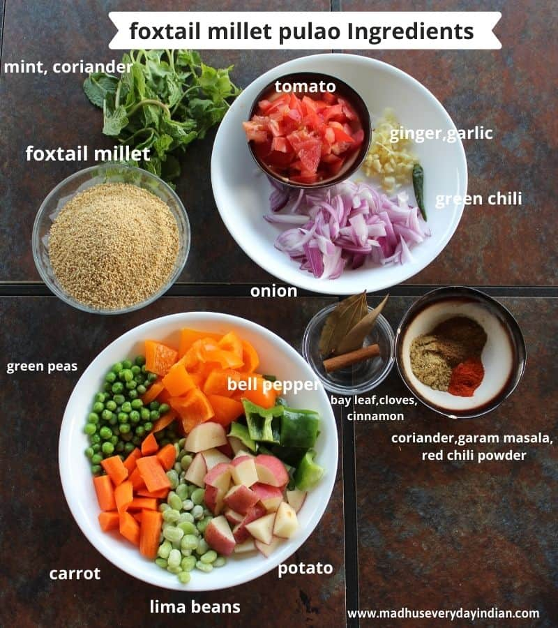 list of ingredients needed to make foxatail millet pulao with picture