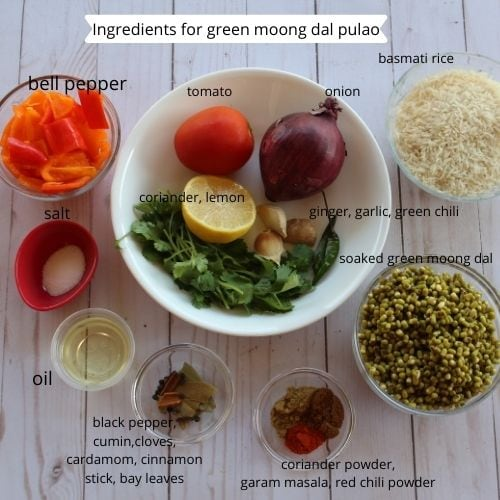 green moong dal pulao ingredients