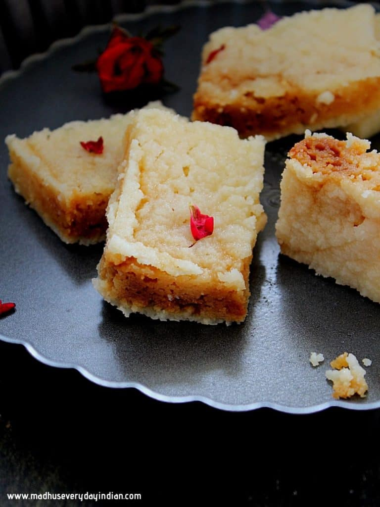 pieces of milk cake garnished with rose petals